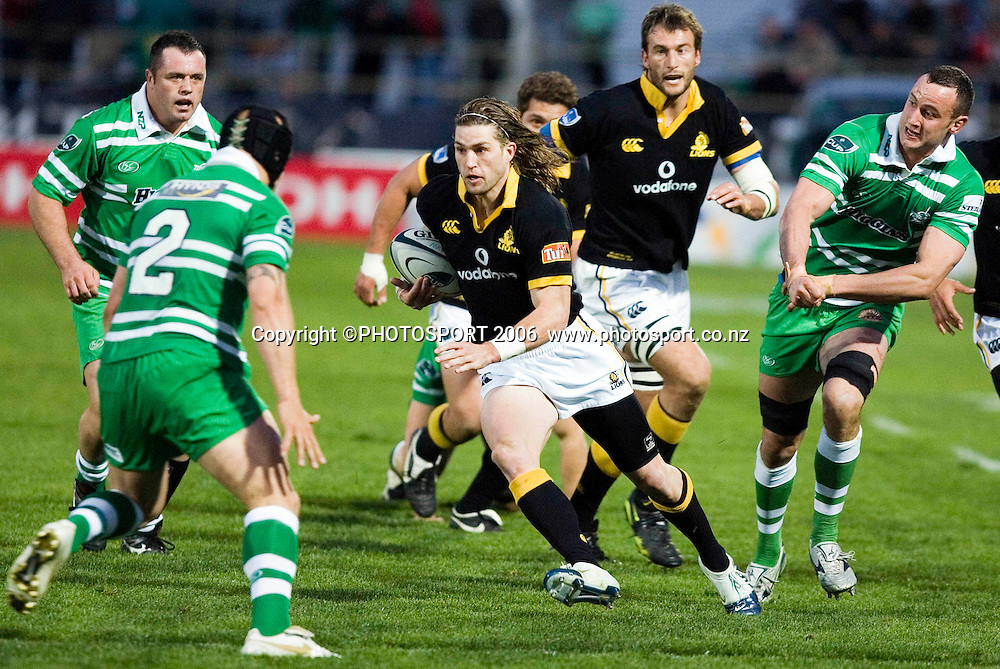 Wellington's Cory Jane makes a break during the Air New Zealand Cup week 6 rugby match between Manawatu and Wellington at FMG Stadium, Palmerston North, on Saturday 2 September 2006. Wellington won 11-3.  Photo: Aaron Smale/PHOTOSPORT<br /> <br /> <br /> 020906 npc nz union