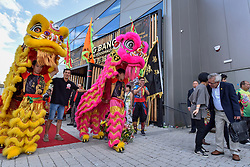 © Licensed to London News Pictures. 10/07/2017. London, UK. Lion dancers perform at Bang Bang Oriental Foodhall on its grand opening in Colindale, north London.  Standing on the site of the former Oriental City, Bang Bang Oriental Foodhall brings stalls offering 27 different Asian cuisines and has modelled on the format of popular food courts in Asia. Photo credit : Stephen Chung/LNP