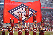 FAYETTEVILLE, AR - OCTOBER 31:  Cheerleader of the Arkansas Razorbacks performs before a game against the UT Martin Skyhawks at Razorback Stadium on October 31, 2015 in Fayetteville, Arkansas.  The Razorbacks defeated the Skyhawks 63-28.  (Photo by Wesley Hitt/Getty Images) *** Local Caption ***
