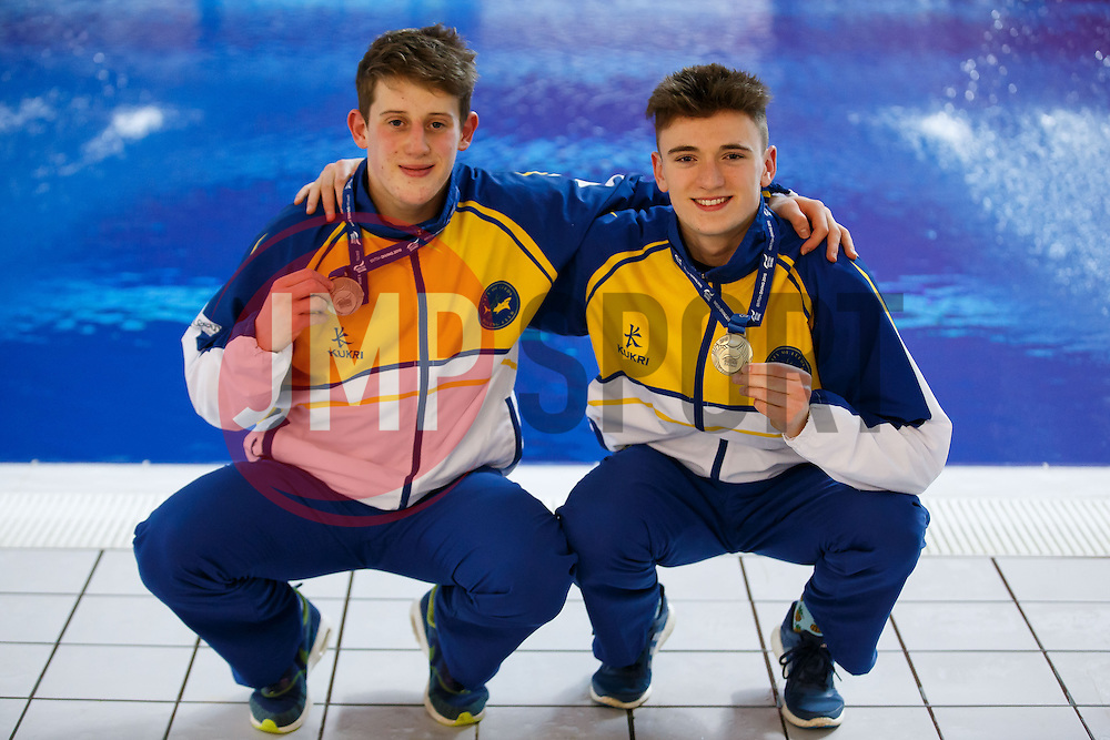 James Denny and Matty Lee of City of Leeds Diving Club pose with their Gold Medals after Winning the Mens 10m Synchronised Platform Final - Photo mandatory by-line: Rogan Thomson/JMP - 07966 386802 - 21/02/2015 - SPORT - DIVING - Plymouth Life Centre, England - Day 2 - British Gas Diving Championships 2015.