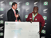 Simon Doull presents the National Bank player or the match to Jerome Taylor. Play was called off early on day 5. New Zealand v West Indies, First Test Match, National Bank Test Series, University Oval, Dunedin, Monday 15 December 2008. Photo: Andrew Cornaga/PHOTOSPORT