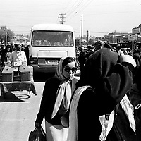 KASHGAR, 30  SEPTEMBER 2001: muslim Uighur  walk in the streets near the bazaar in Kashgar..(photo by: Katharina Hesse/Grazia Neri).