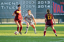 04 November 2016:  Sienna Cruz(11), Colleen Dierkes (24), Vivien Schultz(13) during an NCAA Missouri Valley Conference (MVC) Championship series women's semi-final soccer game between the Loyola Ramblers and the Evansville Purple Aces on Adelaide Street Field in Normal IL
