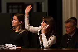 © Licensed to London News Pictures. 07/12/2016. London, UK. Sotheby's staff make bids on behalf of telephone clients at the Old Masters Evening Sale at Sotheby's in New Bond Street. Photo credit : Stephen Chung/LNP
