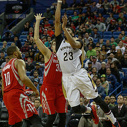 Mar 17, 2017; New Orleans, LA, USA; New Orleans Pelicans forward Anthony Davis (23) shoots over Houston Rockets forward Kyle Wiltjer (30) during the second half of a game at the Smoothie King Center. The Pelicans defeated the Rockets 128-112.  Mandatory Credit: Derick E. Hingle-USA TODAY Sports