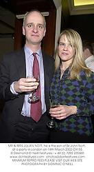 MR & MRS JULIAN NOTT, he is the son of Sir John Nott, at a party in London on 18th March 2002.OYI 55