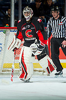 KELOWNA, CANADA - FEBRUARY 20: Tavin Grant #1 of the Prince George Cougars heads to the bench after being pulled from net after allowing three first period goals against the Kelowna Rockets  on February 20, 2018 at Prospera Place in Kelowna, British Columbia, Canada.  (Photo by Marissa Baecker/Shoot the Breeze)  *** Local Caption ***
