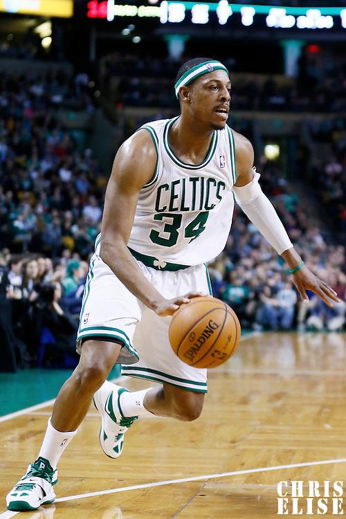 29 March 2013: Boston Celtics small forward Paul Pierce (34) dribbles during the Boston Celtics 118-107 victory over the Atlanta Hawks at the TD Garden, Boston, Massachusetts, USA.