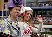 © Licensed to London News Pictures. 21/06/2012. Ascot, UK HRH The Princess Royal and Princess Batrice arrive at Ladies Day at Royal Ascot 21st June 2012. Royal Ascot has established itself as a national institution and the centrepiece of the British social calendar as well as being a stage for the best racehorses in the world.. Photo credit : Stephen Simpson/LNP