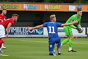 AFC Wimbledon midfielder Mitchell (Mitch) Pinnock (11) appealing for a penalty during the Pre-Season Friendly match between AFC Wimbledon and Bristol City at the Cherry Red Records Stadium, Kingston, England on 9 July 2019.
