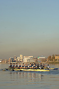 """Putney, Great Britain,  Oxford University Trial Eights, between """"Shirts and Skins"""". During the trial over the championship course Putney to Mortlake. 12/12/2007 [Mandatory Credit Peter Spurrier/Intersport Images]..OUBC Crews:.Shirts, Bow Robin EJSMOND-FREY, 2. Martin WALSH, 3. Ben SMITH, 4. Oliver MOORE, 5. Andrew WRIGHT, 6. Aaron MARCOVY, 7. Charles COLE, stroke Justin STANGEL and Cox Colin GROSHONG...Skins: Bow Paul KELLY, 2. James SOANE, 3. Michal PLOTKOWIAK, 4. Chris MORRIS, 5. Michael WHERLEY 6. Toby MEDARIS, 7.Jan HERZOG, stroke Will ENGLAND and cox Nick BRODIE,.. Varsity Boat Race, Rowing Course: River Thames, Championship course, Putney to Mortlake 4.25 Miles,"""