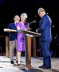 Chairman of Gold Coast 2018 Peter Beattie (left), Louise Martin and The Prince of Wales during the Opening Ceremony for the 2018 Commonwealth Games at the Carrara Stadium in the Gold Coast, Australia.