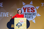 Francis O'Grady speaking at the TUC demo at the Conservative party conference, Manchester. 4th October 2015