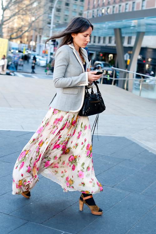 Long Floral Skirt, Lincoln Center Plaza