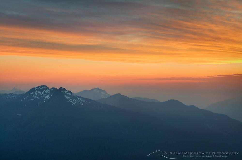 Clearing summer storm at sunset North Cascades Washington