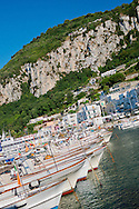 Alberto Carrera, Boats in Harbour, Marina Grande, Capri, Sorrentine Peninsula, Gulf of Naples, Tyrrhenian Sea, Province of Naples, Campania, Italy, Europe