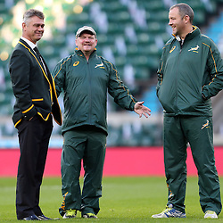 Stock images from 2014 South African management, <br /> Heyneke Meyer (Head Coach) of South Africa with John McFarland Defence Coach of South Africa and Richie Gray (Breakdown Consultant) <br />  (Photo by Steve Haag)