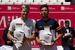 May 6, 2018 - Estoril, Portugal - Kyle Edmund (L) and Cameron Norrie (R) from Great Britain pose with their trophies after their victory against Wesley Koolhof from Netherlands and Artem Sitak from New Zealand in their Millennium Estoril Open ATP doubles final tennis match in Estoril, near Lisbon, on May 6, 2018. (Credit Image: © Carlos Palma/NurPhoto via ZUMA Press)