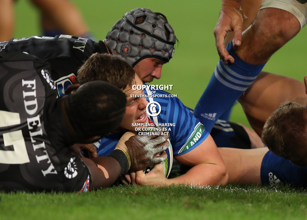 DURBAN, SOUTH AFRICA - MAY 27: SP Marais of the DHL Stormers over for a try during the Super Rugby match between Cell C Sharks and DHL Stormers at Growthpoint Kings Park on May 27, 2017 in Durban, South Africa. (Photo by Steve Haag/Gallo Images)