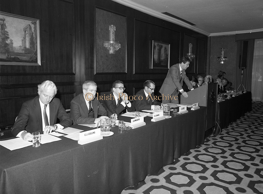 07/11/1982<br /> 11/07/1982<br /> 07 November 1982<br /> Fitzwilton Limited, Annual General Meeting at the Berkeley Court Hotel, Dublin. Picture shows (l-r): C.J. Collins, Director; J.S. McCarthy, Director; Nicholas J. Leonard, Director; R.D. Burry, Chief Operating and Financial Officer and  Dr. A.J.F. (Tony) O'Reilly, Chairman addressing the meeting.