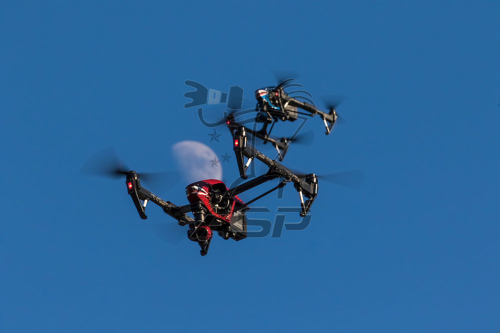 A personal drone flying through the air