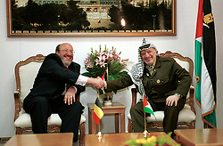 RAMALLAH, WEST BANK-APRIL 23, 2001-.PLO Chairman Yasser Arafat meets with Louis Michel, Belgian Minister of Foreign Affairs, at the PLO headquarters in the West Bank town of Ramallah. (PHOTO © JOCK FISTICK)
