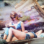 women, beach, summer, film damage