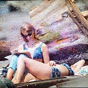 women, beach, summer, film damage