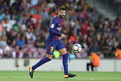 August 7, 2017 - Barcelona, Spain - Gerard Pique of FC Barcelona during the 2017 Joan Gamper Trophy football match between FC Barcelona and Chapecoense on August 7, 2017 at Camp Nou stadium in Barcelona, Spain. (Credit Image: © Manuel Blondeau via ZUMA Wire)