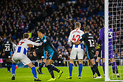 Glenn Murphy (Brighton) & Viktor Gyokeres (Brighton) in a hold at the goal mouth during the FA Cup fourth round match between Brighton and Hove Albion and West Bromwich Albion at the American Express Community Stadium, Brighton and Hove, England on 26 January 2019.