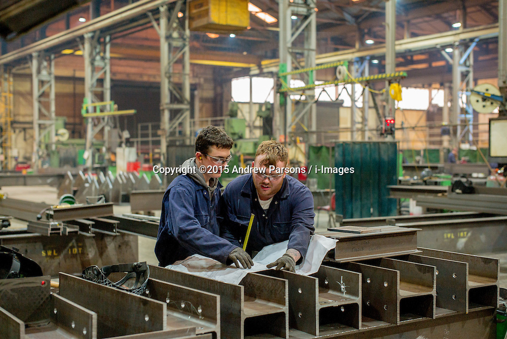 ©Licensed to i-Images Picture Agency. 12/03/2015. Bury. William Hare Heavy Steelworks Ltd in Bury for the North West Conservative Campaign. Ben Hicks with Apprentice Jay Smith 16.  Picture by Andrew Parsons / i-Images