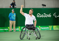 Stephane Houdet (out of frame) and Nicolas Peifer of France react after winning against Alfie Hewett (out of frame) and Gordon Reid (out of frame) of the UK in the Tennis Men's Doubles Gold Medal Match during Day 8 of the Rio 2016 Summer Paralympics Games on September 15, 2016 in Olympic Tennis Centre, Rio de Janeiro, Brazil. Photo by Vid Ponikvar / Sportida