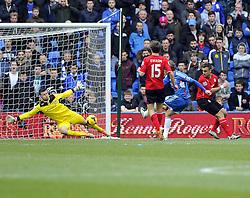 Cardiff City's David Marshall saves from Hull City's Nikica Jelavic  - Photo mandatory by-line: Joe Meredith/JMP - Tel: Mobile: 07966 386802 22/02/2014 - SPORT - FOOTBALL - Cardiff - Cardiff City Stadium - Cardiff City v Hull City - Barclays Premier League