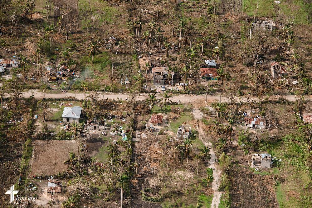 Damage to homes from Hurricane Matthew on Tuesday, Oct. 11, 2016, near Les Cayes, Haiti. LCMS Communications/Erik M. Lunsford