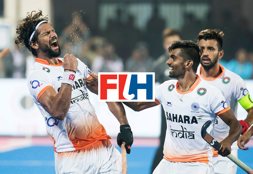 BHUBANESWAR - The Odisha Men's Hockey World League Final . Match ID 06 . India v England (2-3).  Rupinder Pal Singh (Ind) scored 2-2.  right Sumit (Ind).   WORLDSPORTPICS COPYRIGHT  KOEN SUYK