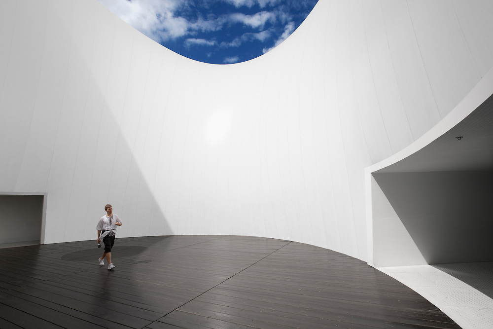"The Finland pavilion ""Kirnu"" photographed in July at the Shanghai World Expo 2010. The pavilion architectural desgin was carried out by Finnish JKMM architects agency."