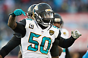 NASHVILLE, TN - DECEMBER 31:  Telvin Smith #50 of the Jacksonville Jaguars celebrates after a big play during a game against the Tennessee Titans at Nissan Stadium on December 31, 2017 in Nashville, Tennessee.  The Titans defeated the Jaguars 15-10.  (Photo by Wesley Hitt/Getty Images) *** Local Caption *** Telvin Smith