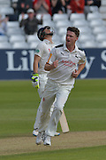 Jackson Bird celebrated the wicket of Michael Richardson (not shown) during the Specsavers County Champ Div 1 match between Nottinghamshire County Cricket Club and Durham County Cricket Club at Trent Bridge, West Bridgford, United Kingdom on 29 May 2016. Photo by Simon Trafford.