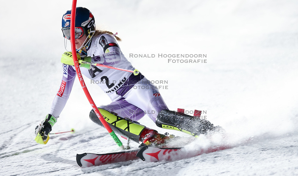 13-01-2015 AUT: Alpine Skiing World Cup, Flachau<br /> Mikaela Shiffrin of the USA in action during 1st run of the ladie's Slalom of the FIS Ski Alpine World Cup at the Hermann Maier Weltcupstrecke in Flachau<br /> ***NETHERLANDS ONLY***