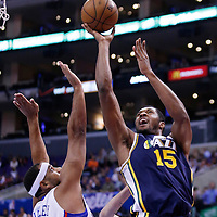 23 October 2013: Utah Jazz power forward Derrick Favors (15) goes for the jumpshot over Los Angeles Clippers shooting guard Jared Dudley (9) during the Los Angeles Clippers 103-99 victory over the Utah Jazz at the Staples Center, Los Angeles, California, USA.