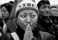 TIBET PROTEST LEADER..On an international day of protest against Chinese repression in Tibet there were numerous protests around the United States, including Washington D.C.'s Lafayette Park only steps from the White House ? Monday April 31, 2008 ? A Tibetan from New York City, Dechea Dolma, responds with tears to deaths in Lassa under the crackdown by Chinese troops.