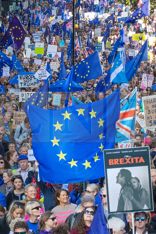 © Licensed to London News Pictures. 19/10/2019. London, UK. Thousands of protesters join the People's Vote 'Final Say' march through London. MPs will debate Prime Minister Boris Johnson's proposed Brexit deal in parliament today, the first Saturday sitting of the Commons since the Falklands conflict. Photo credit: Rob Pinney/LNP