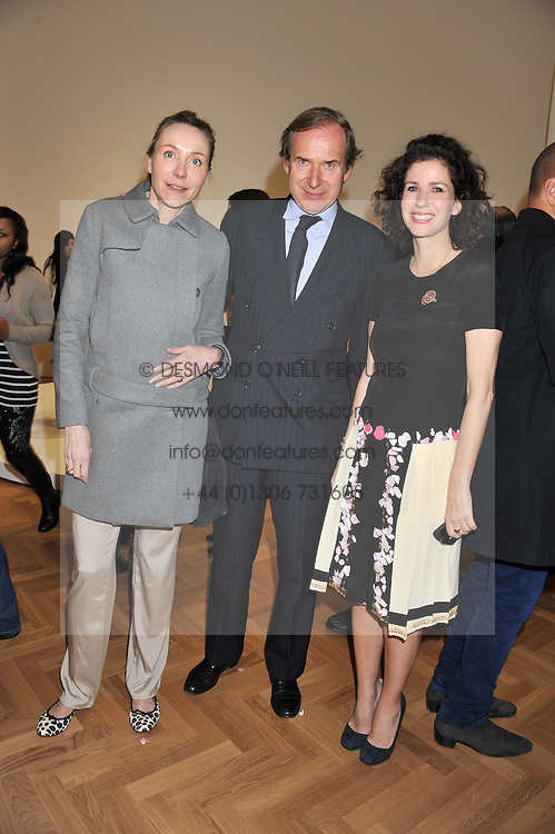 Left to right, MICHAELA NEUMEISTER, SIMON DE PURY and MOLLIE DENT-BROCKLEHURST at a Private View of 'Calder - After The War' at Pace London, Burlington Gardens, London on 18th April 2013.