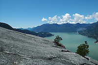 The hike up the Chief, a granite mountain, at Squamish, BC overlooks Howe Sound