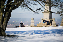 © Licensed to London News Pictures. 30/01/2019. Butlers Cross, UK.  Walker make their way through a snow covered landscape on Coombe Hill in Butlers Cross, Buckinghamshire, as snow hits the south east of England. Photo credit: Ben Cawthra/LNP