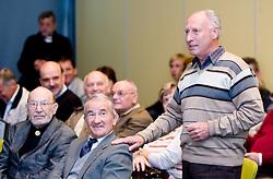 "Vlado Slamberger, Tine Srot and Janez Brodnik at presentation of a new book of one of the best Slovenian gymnast Miro Cerar named ""Miroslav Cerar in njegov cas - Miroslav Cerar and his time"" at his 70 years anniversary, on October 30, 2009, in Hotel Mons, Ljubljana, Slovenia.   (Photo by Vid Ponikvar / Sportida)"