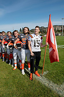 KELOWNA, BC - OCTOBER 6: Connor Johnstone #15 of Okanagan Sun stands on the sidelines during the national anthem against the VI Raiders at the Apple Bowl on October 6, 2019 in Kelowna, Canada. (Photo by Marissa Baecker/Shoot the Breeze)