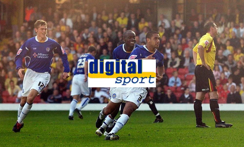 Photo: Daniel Hambury.<br />Watford v Leicester City. Coca Cola Championship.<br />15/10/2005.<br />Leicester's Patrick Kisnorbo celebrates scoring the second goal.