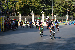 Charlotte Becker (hitec Products) leads the peloton as the break is caught at Madrid Challenge by La Vuelta an 87km road race in Madrid, Spain on 11th September 2016.