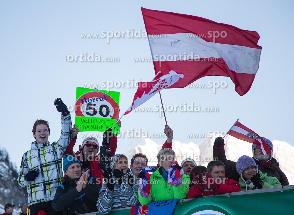 22.03.2013, Planica, Kranjska Gora, SLO, FIS Ski Sprung Weltcup, Skifliegen, im Bild fans jubelen mit einem Plakat 50. Weltcupsieg Gregor Schlierenzauer // fans celebrat the 50th viktory of Gregor Schlierenzauer of Austria during the FIS Skijumping Worldcup Individual Flying Hill, Planica, Kranjska Gora, Slovenia on 2013/03/22. EXPA Pictures © 2012, PhotoCredit: EXPA/ Johann Groder